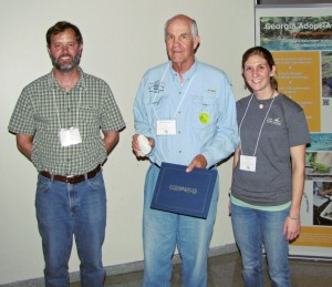 L to R: Harold Harbert, Watershed Outreach Manager; Bill Lott; and Chelsea Hopkins, Georgia Adopt-A-Stream Coordinator.